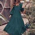 ZANZEA 2021 стильный рюшами Макси платье на каждый день с буфами на рукавах Туника Vestidos женский сплошной халат Осенняя женская обувь летнее плат...