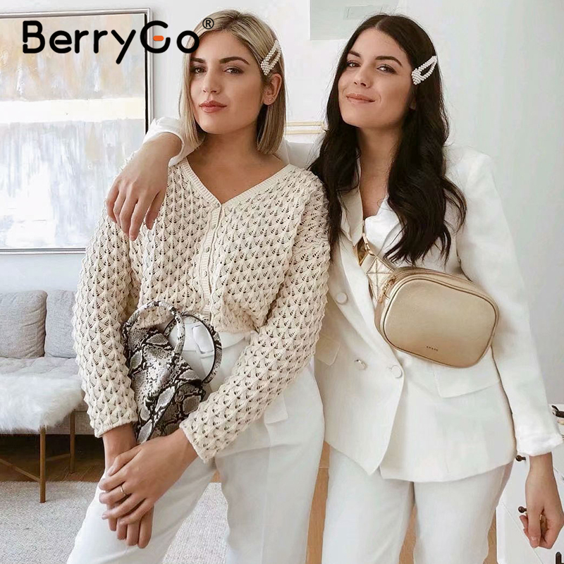 BerryGo White Hollow Out Women Cardigans Sweater Vintage Casual Spring Summer Female Cardigans Streetwear Ladies Sweater Jumper
