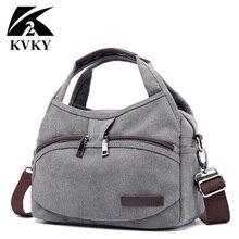 KVKY 여성을위한 새로운 캔버스 가방 브랜드 핸드백 여성 Crossbody 가방 다기능 작은 여름 핸드백 빈티지 Crossbody 가방