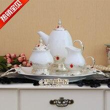 Ice cracking glaze 5 person use Teaware European style New ceramic tea cup teapot Coffee set Creative gift wedding