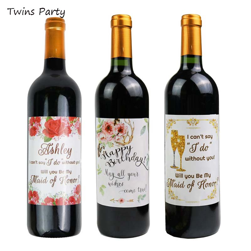 Twins 20Pcs Wine Bottle Labels Anniversary Wedding Birthday Party Baptism Adhesive Sticker Happy Birthday Letter Label Decor in Ballons Accessories from Home Garden