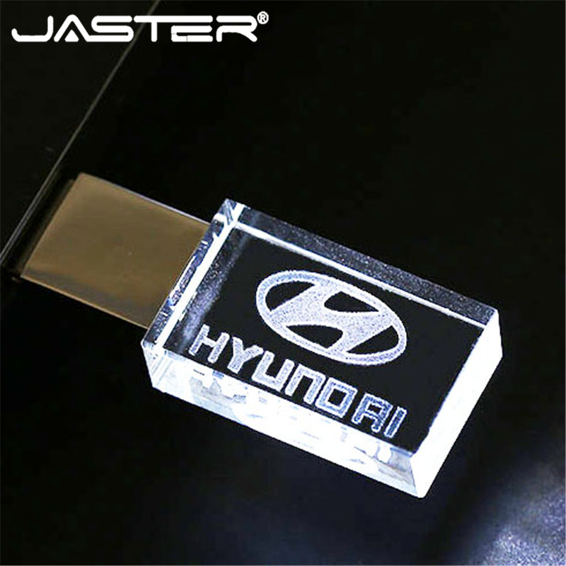Modern Hyundai Crystal + Metal USB Flash Drive Pendrive 4GB 8GB 16GB 32GB 64GB 128GB External Storage Memory Stick U Disk