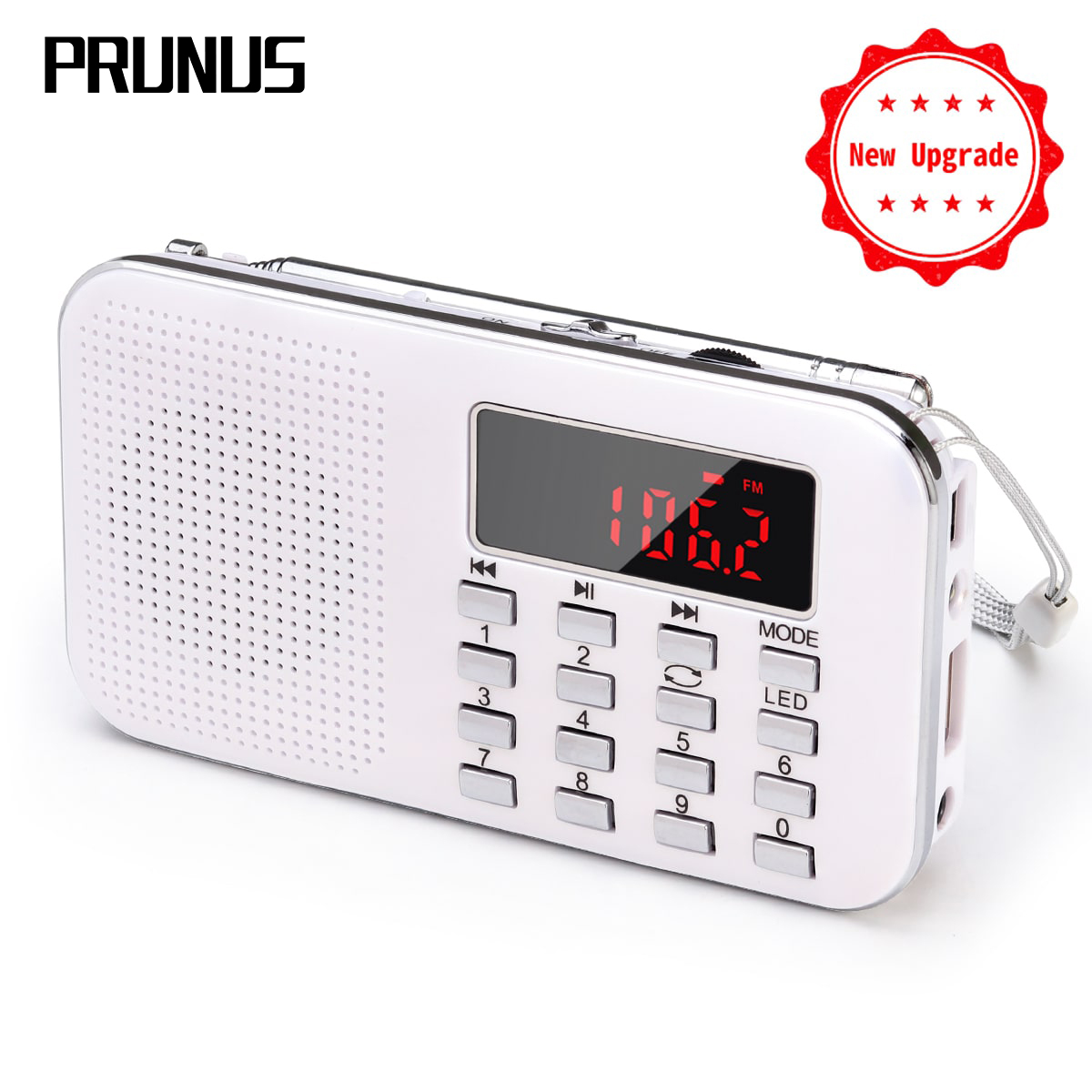 PRUNUS L-218 Mini Portable Digital Radio Receiver AM / FM /MP3/SD 32G Emergency Flashlight Radio Stereo Speaker 1200mAh Battery