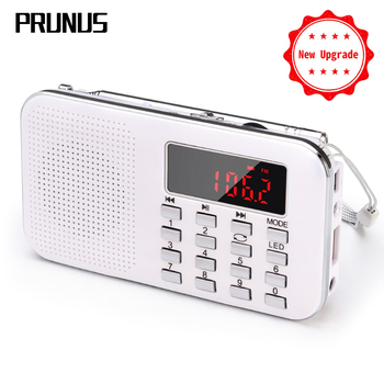PRUNUS Portable fm radio Rechargeable radio receiver TF Card /AUX/U-Disk music play mini radios with LED light 1200mAh Battery