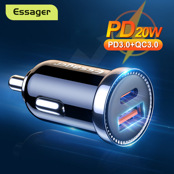 Essager USB Car Charger PD 20W USB Type C Quick Charge QC PD 3.0 For iPhone 12 Pro Xiaomi Fast Charging Charger For Phone in Car