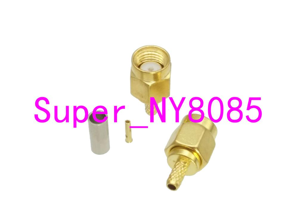 10pcs RP-SMA Male Jack Crimp RG174 RG316 LMR100 Cable RF Coaxial Connector