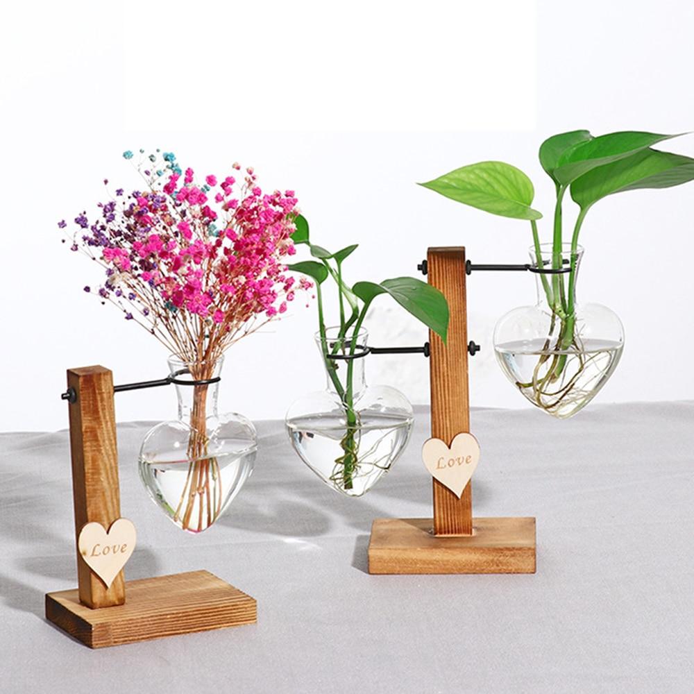 1 Bulb Vase Takefuns Glass Planter Bulb Vase Desktop Hanging Glass Libra Water Planting Glass Vase Hydroponics Plants Office Desk Wedding Decor with Retro Wooden Stand