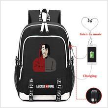 La Casa De Papel Oxford Backpack USB Charging school bag Pap