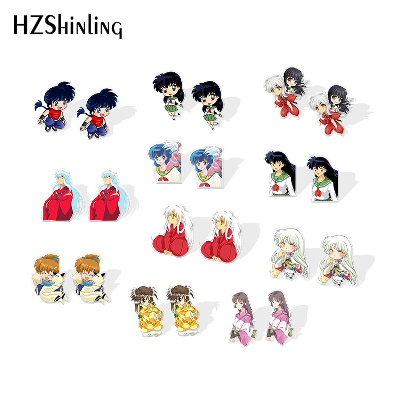2019 New Inuyasha And Kagome Acrylic Earrings Shippou Sesshoumaru Resin Earrings Epoxy Stud Earring Gilfts