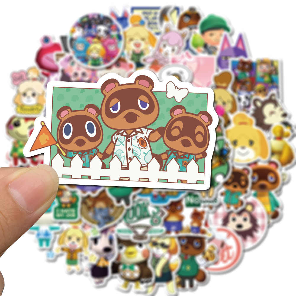 50 Stks/set Animal Crossing Amiibo Jingjiang Stickers Speelgoed Cijfers Hd Mode Diy Zelfklevende Hand Tear Papier Sticker Speelgoed