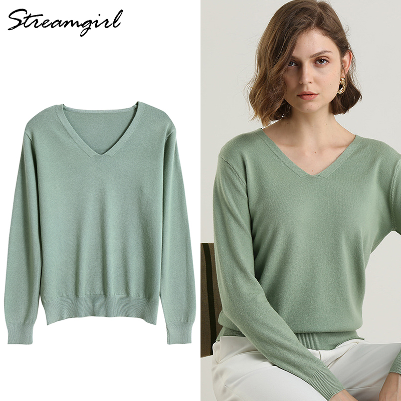 Office Sweater For Women Winter Jumper Warm V-neck Sweaters Women Invierno 2019 Red Pullover Sweater V Neck Winter Pull Femme