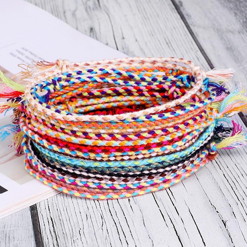 Meetvii Lucky Tibetan String Bracelets & Bangles for Women Men Handmade Tassel Knots Thread Rope Bracelet Ethnic Jewelry