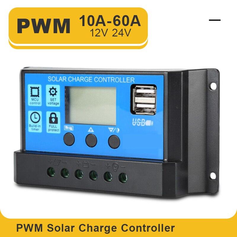 ШИМ-контроллер заряда солнечной батареи, с ЖК-дисплеем, двойным USB-выходом, мощностью 5 В, 60/50/40/30/20/10 А, 12/24 В