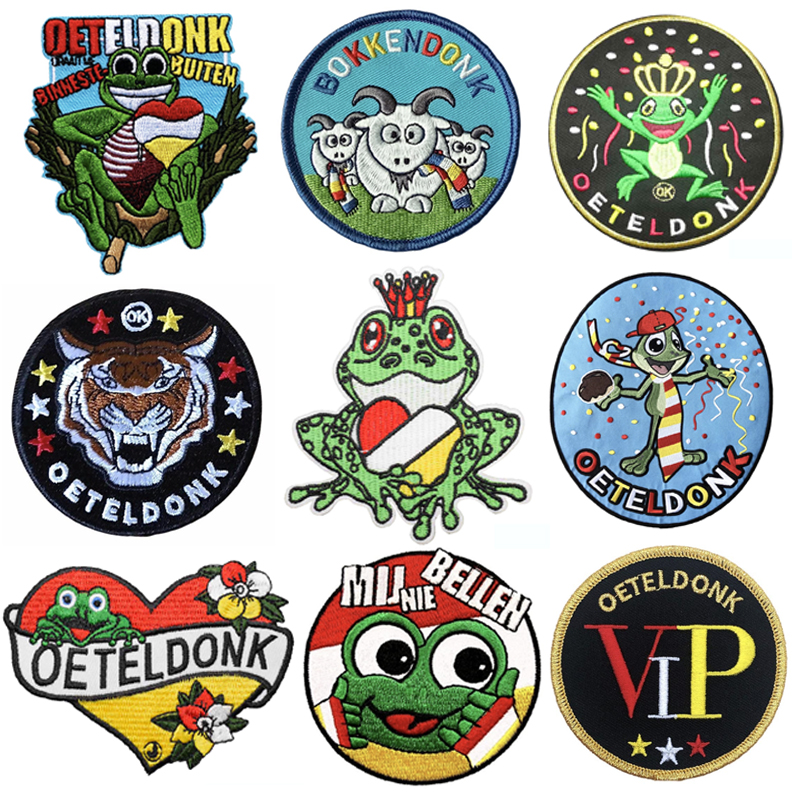 Oeteldonk Emblem Full Embroidered Frog Carnival for Netherland Iron on Patches Stickers on Clothes Embroidered Patches for Dress