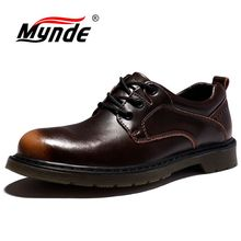 Mynde Brand Mens Shoes Genuine Leather Handmade Luxury Mens Oxfords Top Quality Casual Shoes Men Work Shoes  Flats Size 38 47