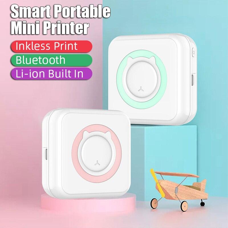 Impressora de etiquetas sem fio bluetooth mini bolso portátil hd térmica preço etiqueta da foto impressora de impressão rápida uso doméstico escritório