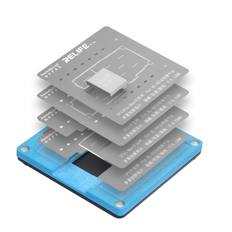 RELIFE 6 in 1 BGA Reballing Stencil Kit for iPhone X XS XS MAX 11 11Pro 11Pro MAX Motherboard Middle Frame Tin Planting Fixture