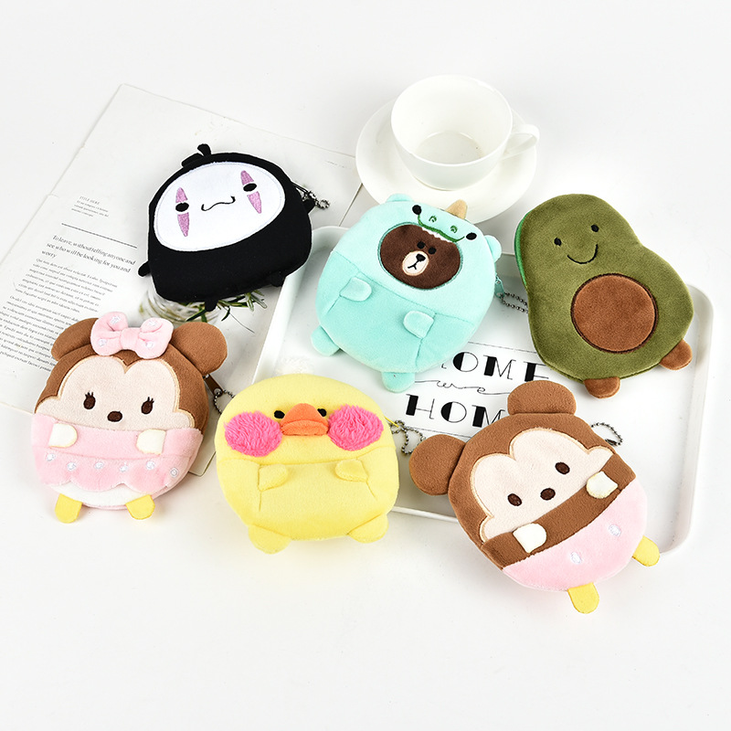 M465 Lovely Cartoon Coin Bags For Women Plush Animal Cat Bear Avocado Duck Zero Purses Child Girl Gift Wholesale