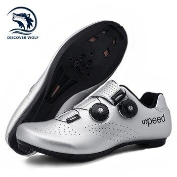 Alta qualidade dupla fivelas sapatos de ciclismo mtb respirável auto-bloqueio sapatos de bicicleta profissional tênis de estrada da bicicleta cleat sapatos 1