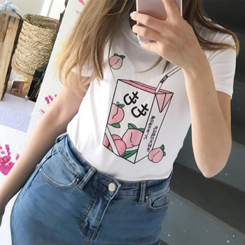 2019 Summer Casual Peach Juice Japanses Aesthetic Grunge T Shirt Women Girl Kawaii White Tee Tumblr Outfit Fashion Tops