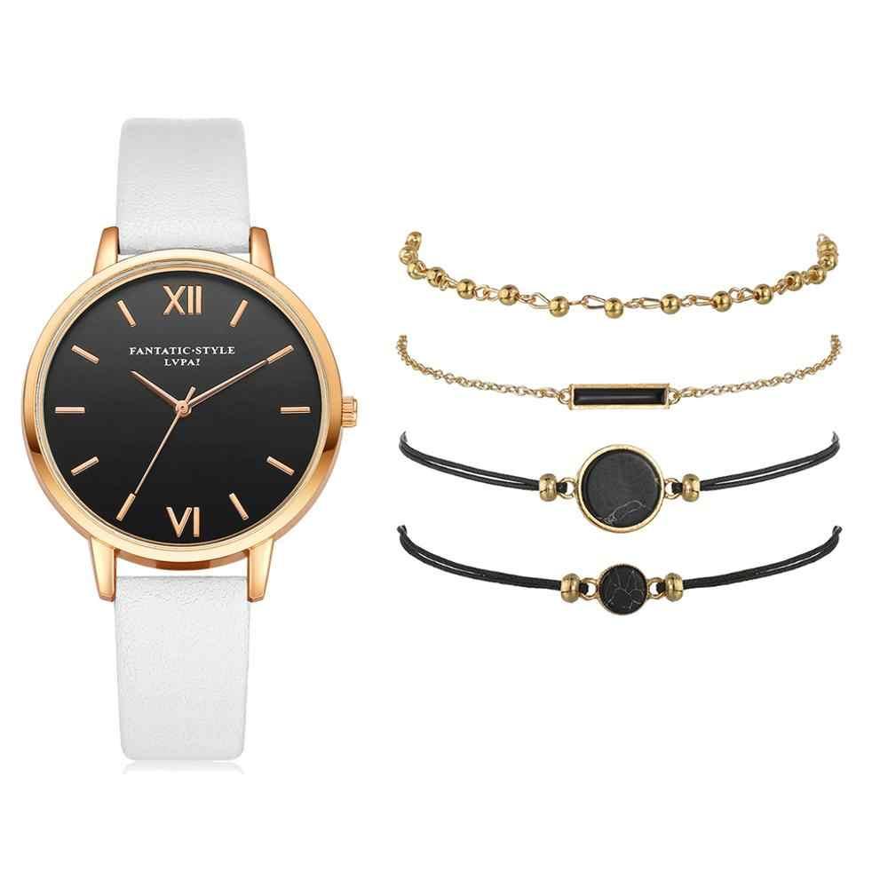 5 stücke Set Top Stil Mode frauen Luxus Leder Band Analog Quarz Armbanduhr Damen Uhr Frauen Kleid Reloj Mujer schwarz Uhr