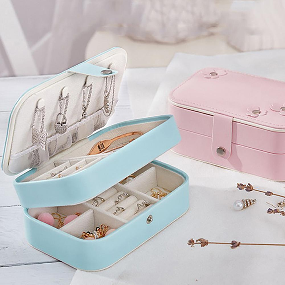 Korean Women Leather Dual-layer Cosmetic Earrings Plate Jewelry Box Holder Necklace Ring Protable Travel Mirror Storage Pouch