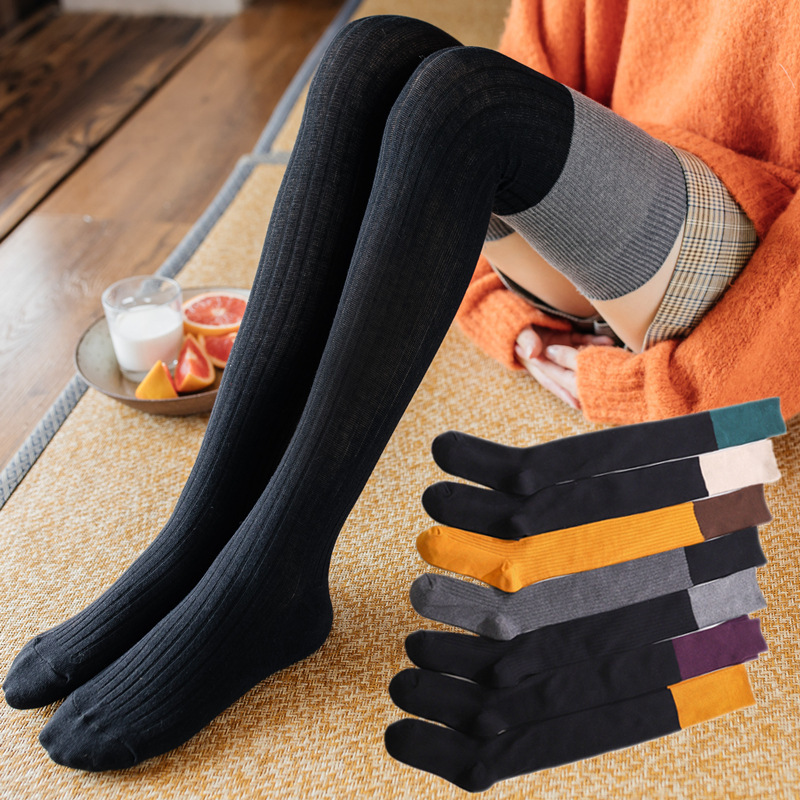 New Arrive Patchwork Stockings Cotton Student Winter Warm Over The Knee Stockings Yellow Black Gray Female Thigh Stockings Thick