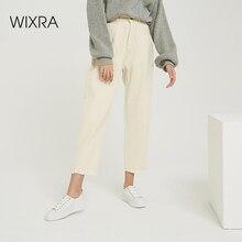 Wixra 2019 חדש אופנתי מוצק מקרית נשים של מכנסיים גבוה מותן כיסים ארוך מכנסיים אביב סתיו גבירותיי ג ינס תחתון