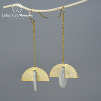Lotus Fun Moment Real 925 Sterling Silver Natural Stone Creative Fine Jewelry Sector Rotable Long Dangle Earrings for Women