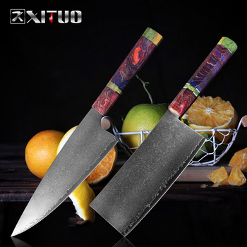 XITUO Cleaver Knife Damascus Professional Chinese Kitchen Chef Knife Sharp Slicing Vegetable Paring Knives Kitchen Cooking Tools