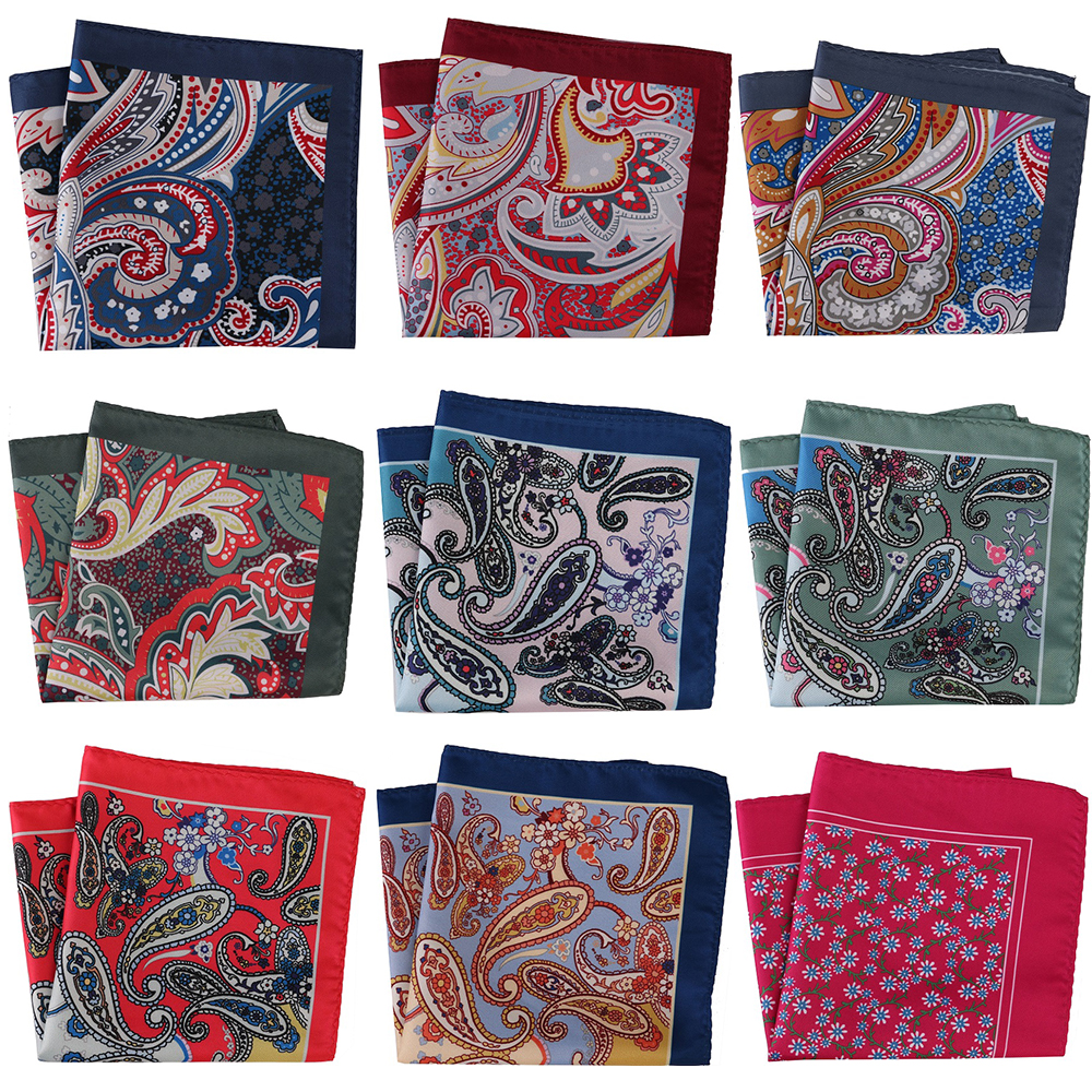 30CM Luxury Mens Pocket Squares Men's Handkerchief Men Floral Printed Paisley Scarf Hankies Chest Towel Wedding Party Gift