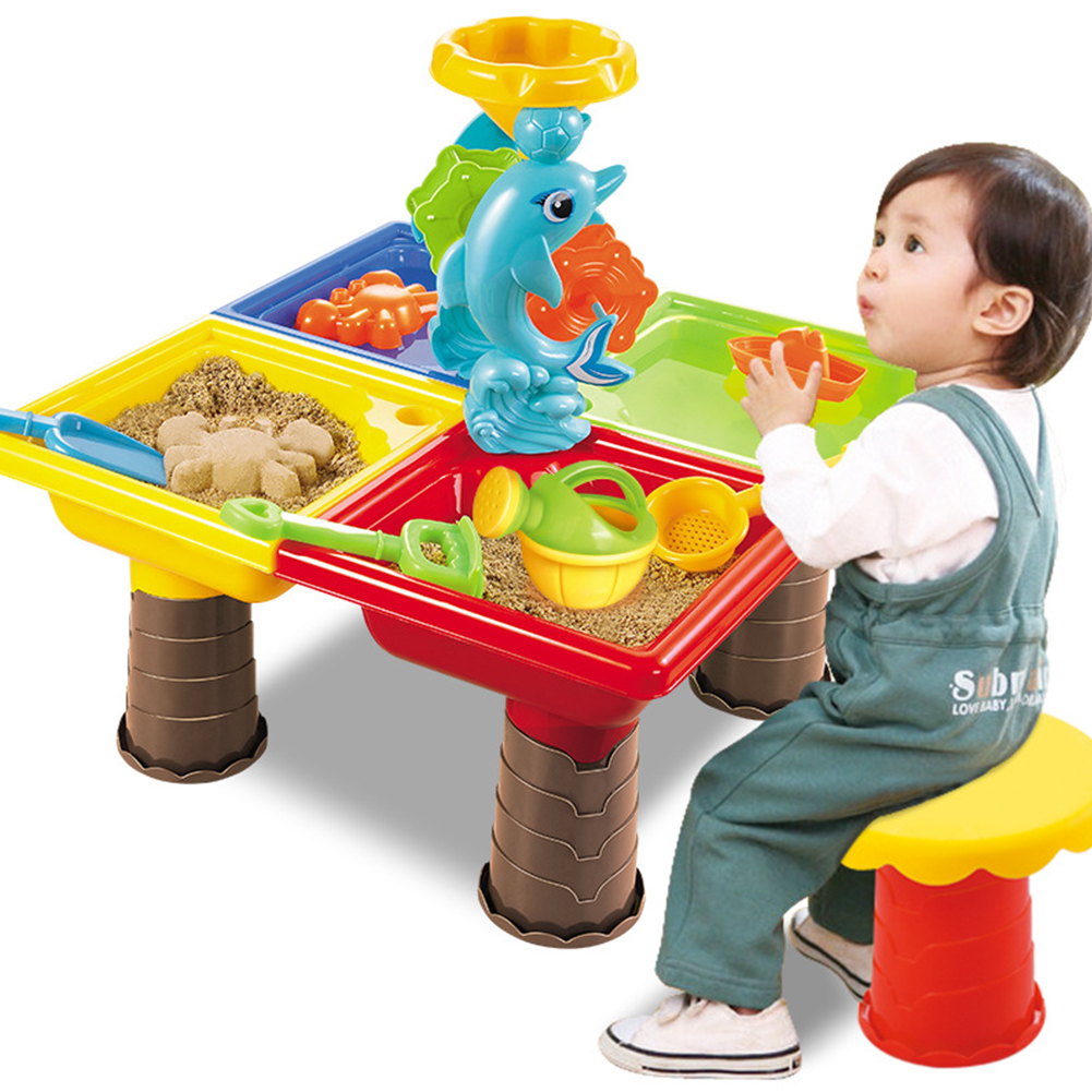 Sand Table Digging Pit Outdoor Garden Bucket Sandglass Play Summer Seaside Beach Toy Set Water Kids Desk For Children