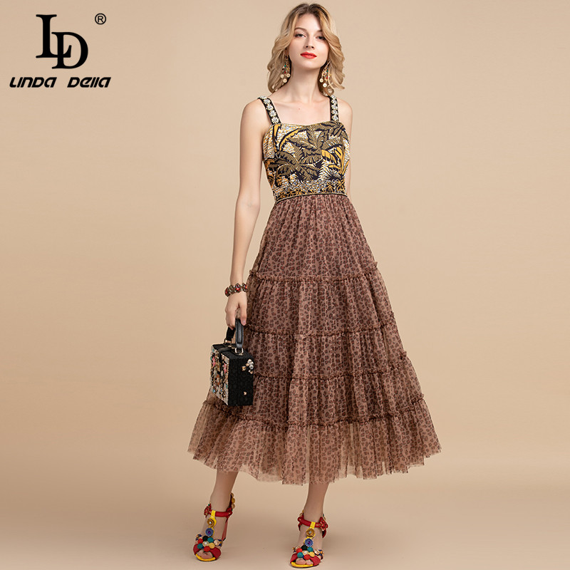 LD LINDA DELLA Summer Vintage Dress Women's Spaghetti Strap Sequin Crystal Beading Mesh Leopard Print Patchwork Party Dress
