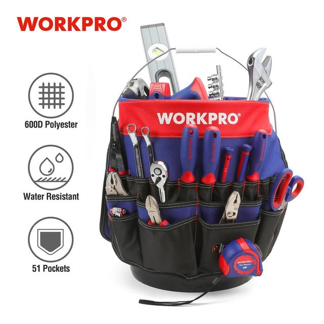 WORKPRO 5 Gallon Bucket Tool Organizer Bucket Boss Tool Bag with 51 Pockets Fits to 3.5 5 Gallon Bucket (Tools Excluded)