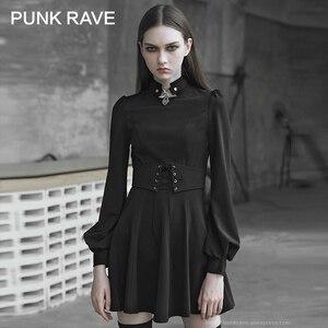 Image 1 - 펑크 레이브 여자의 고딕 타이 업 로프 아일렛 로프와 금속 장식 드레스 레트로 궁전 버블 슬리브 태양 진자 드레스