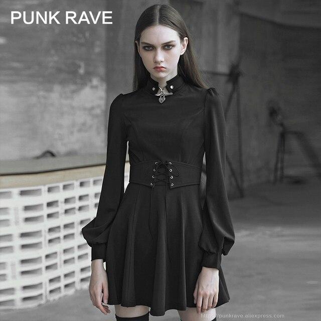 펑크 레이브 여자의 고딕 타이 업 로프 아일렛 로프와 금속 장식 드레스 레트로 궁전 버블 슬리브 태양 진자 드레스