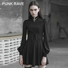 PUNK RAVE Womens Gothic Tie up Rope Eyelet Metal Decorative Dress with Rope Retro Palace Bubble Sleeves Sun Pendulum Dresses