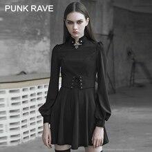 Vestido de péndulo PUNK para mujer, estilo gótico con ojal de cuerda, decorativo de Metal con cuerda, mangas de burbuja de palacio Retro