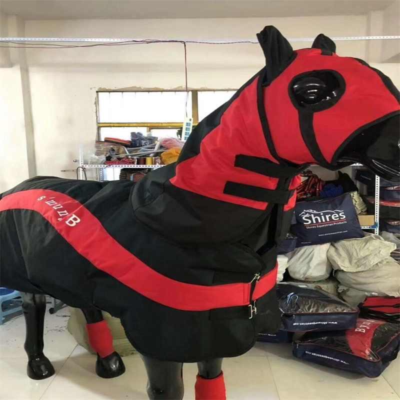 Destacável à prova de vento cavalo-roupas horsecloth cavalo vestuário tapete com capa de cabeça e leggings