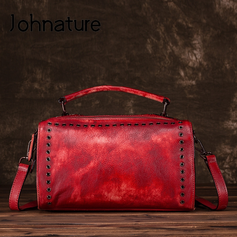 Johnature Retro First Layer Cowhide Women Handbag 2020 New Hand Painted Pillow Bag Large Capacity Leisure Shoulder Messenger Bag