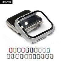 URVOI-parachoques para apple watch Serie 6 SE 5 4 3, funda para iwatch, cubierta con vidrio templado, protector de pantalla, banda ultrafina de 40 y 44mm