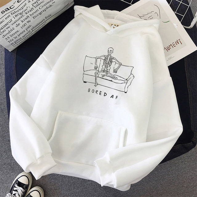 Harajuku Hoodie Skull Print 2020 Winter Clothes Women Halloween Punk Graphic Pullover Sweatshirts Vintage Plus Size Hoodies Tops 3