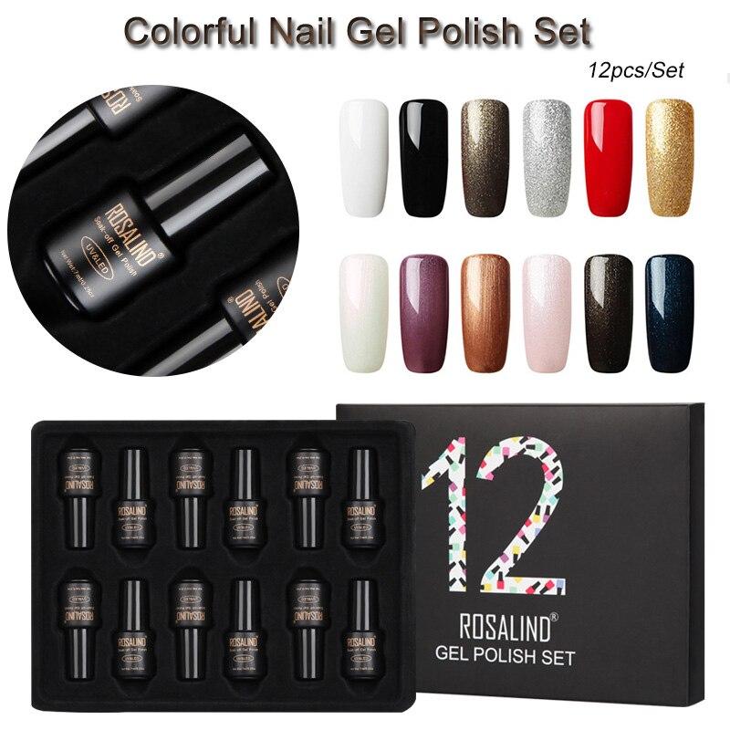 12pcs/Set Fashion Color UV Lamp Gel Nail Polish Varnish 7.5ml/pcs Lady Salon Nail Art Design Manicure Kit With Pretty Gift Box