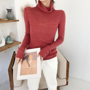 Ailegogo Spring Women Thin Turtleneck Sweater Casual Knitted Female Slim Fit Pullovers Korean Style Ladies Knitwear Tops 4
