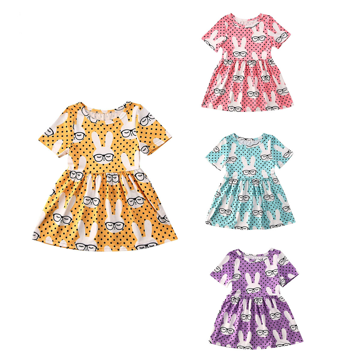 Dress Kids Easter Baby-Girl Infant Rabbit Outfits Party Princess New 2-6yrs Shorts-Sleeve title=