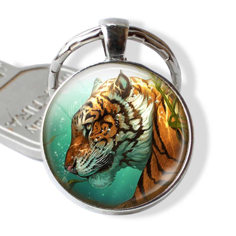 Tigre animal de vidro cúpula chaveiro cabochão metal chaveiro rei da floresta moda acessórios jóias pingente presente