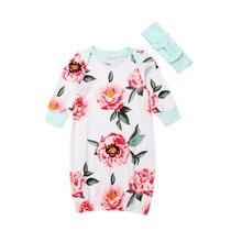 Одежда для сна с длинными рукавами и цветочным принтом для новорожденных мальчиков и девочек, пижамный комплект