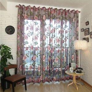 Cortinas para sala de estar con flores peonías, tul, pantalla de ventana, hilo Pastoral, tela, dormitorio, cocina, personalizada