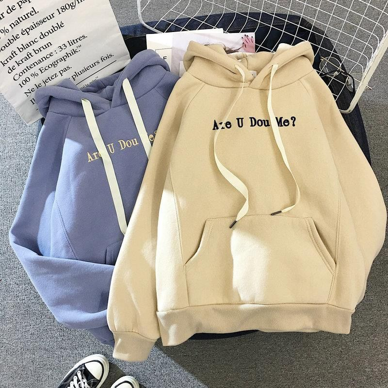Hoodies Women Winter Elegant Trendy Leisure Hooded Solid Womens Pullover Students Letter Printed Long Sleeve Ladies Sweatshirts 1