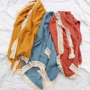 Пеленки для младенцев из муслина и хлопка, двойная марля, банное полотенце с кисточками, одеяло, пеленки для новорожденных, мешок для сна, на...